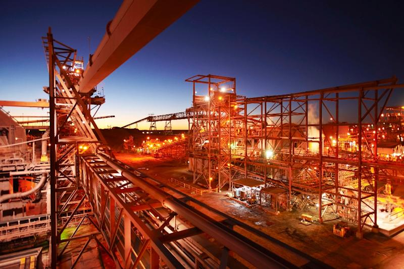 A BHP Billiton metals processing plant is pictured near the Olympic Dam mine in southern Australia