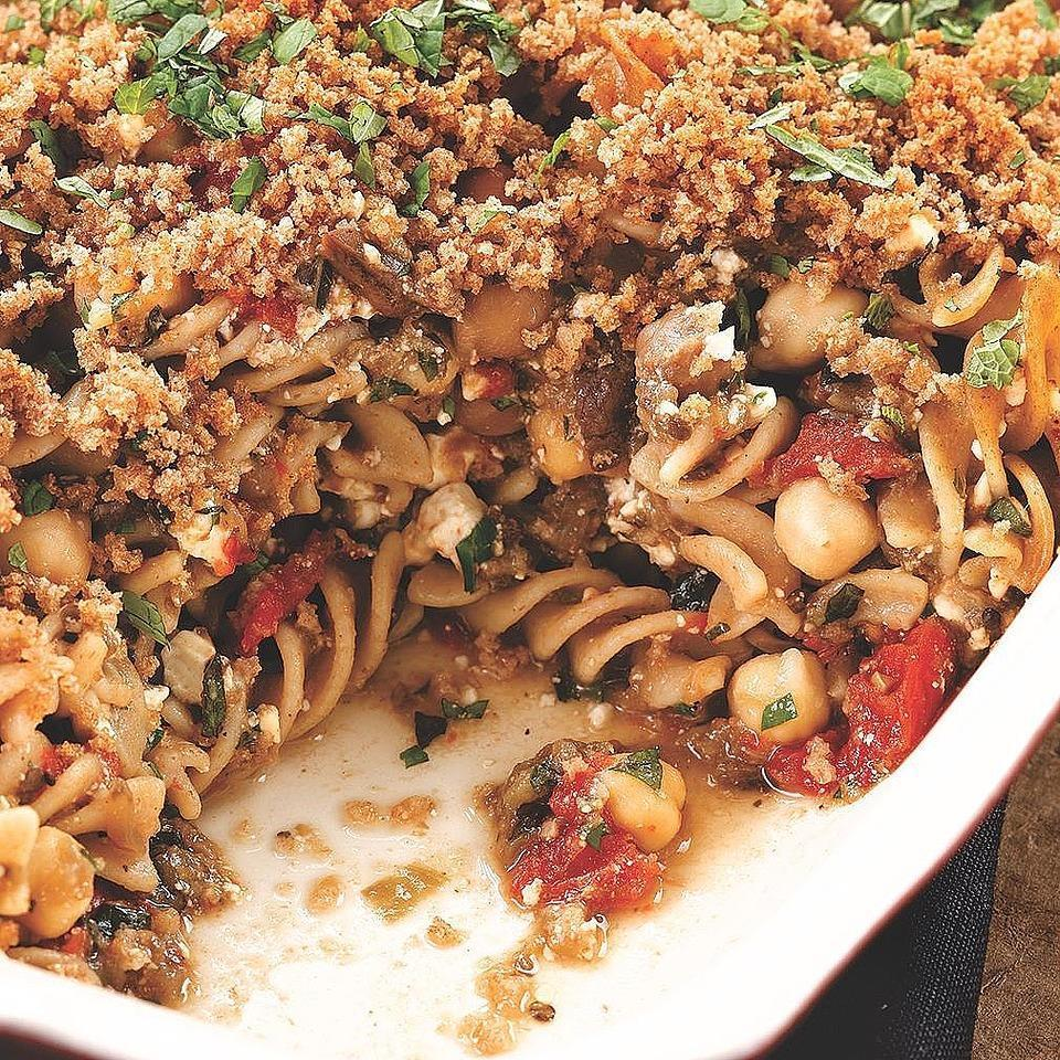 <p>Turn leftover Eggplant & Chickpea Stew into a comforting vegetarian baked-pasta dish. We love the taste of mint with the other Mediterranean flavors, but you can use parsley or basil if you prefer.</p>