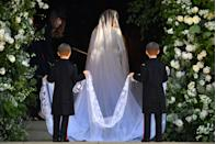 <p>The veil, also by Clare Waight Keller of Givenchy, serves as a tribute to the United Kingdom and has a flower from every Commonwealth country embroidered on it. (Photo: Ben Stansall/AFP/Getty Images) </p>