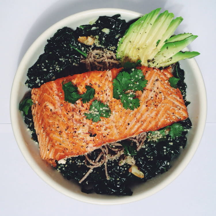 """<p>""""Since Valentines Day is all about love, this dish shows your heart some seriously L-O-V-E. Both salmon and hemp seeds are loaded with heart healthy omega 3 fatty acids. Omega 3's reduce inflammation in the body which in turn reduces the risk of heart disease and stroke. This dish is also light yet fortifying, so it won't impede on any other Valentines Day related activities :)"""" <i><a href=""""http://crunchyradish.com/thecrunchyradish/2013/11/9/superfoods-series-hemp?rq=salmon"""">Recipe</a> from Miranda of The Crunchy Radish</i><br /></p>"""