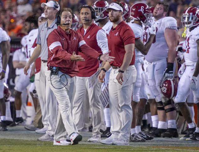 Alabama coach Nick Saban disagrees with a call in the second half against Auburn on Saturday. (AP)
