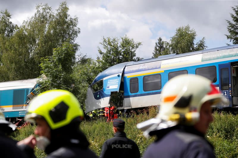View of a site of a train crash near the town of Domazlice
