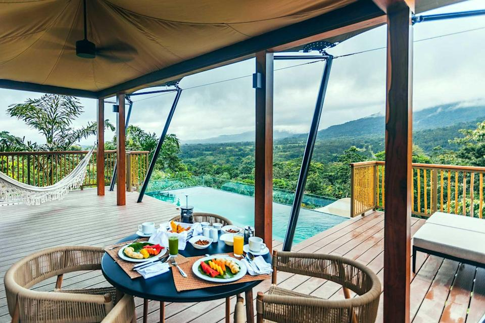 View from a guest tent at Nayara Tented Camp, voted one of the best hotels in the world