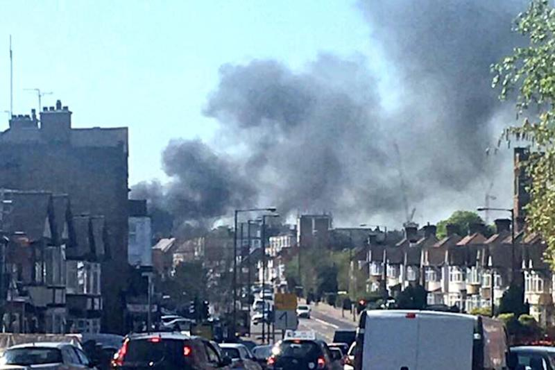 Thick smoke: Kenton Road was shut for an hour on Saturday afternoon: @MehdiJuma