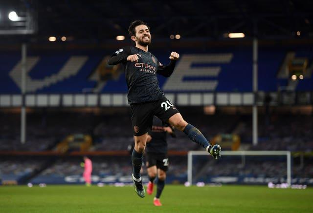 Bernardo Silva was on target when City won at Everton in the Premier League last month