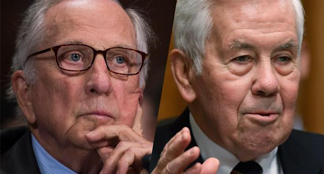 Former Sens. Sam Nunn, D-Ga., and Richard Lugar, R-Ind. (Photos: Tom Williams/CQ Roll Call, Chip Somodevilla/Getty Images)