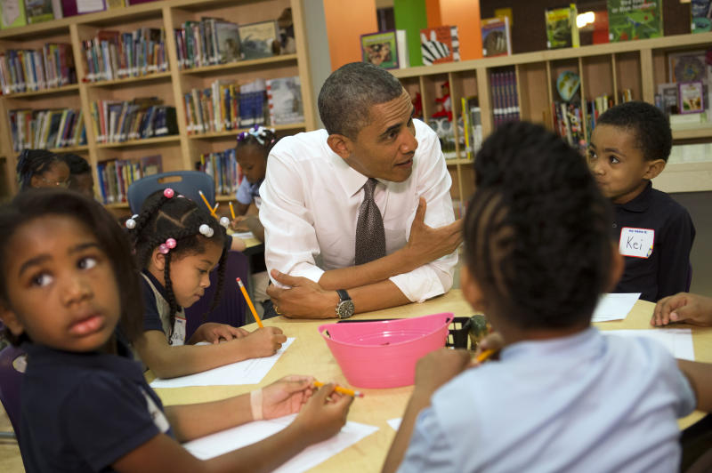 """<p> President Barack Obama talks to a class of pre-Kindergarten school children at Moravia Park Elementary School in Baltimore, Md., Friday, May 17, 2013, during the his second """"Middle Class Jobs and Opportunity Tour"""". (AP Photo/Jacquelyn Martin)"""