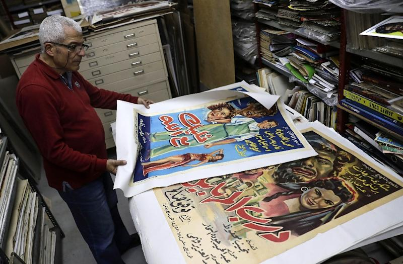 Abboudi Abu Jawdeh first began collecting posters in his teens (AFP Photo/JOSEPH EID)