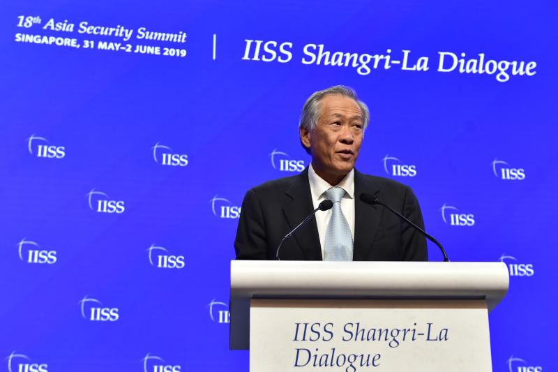 Defence Minister Ng Eng Hen at the 2019 Shangri-La Dialogue. (PHOTO: Facebook/Ng Eng Hen)