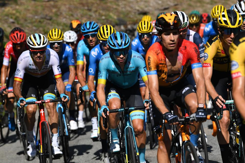 MERIBEL FRANCE  SEPTEMBER 16 Miguel Angel Lopez Moreno of Colombia and Astana Pro Team  Mikel Landa Meana of Spain and Team Bahrain  Mclaren  during the 107th Tour de France 2020 Stage 17 a 170km stage from Grenoble to Mribel  Col de la Loze 2304m  TDF2020  LeTour  on September 16 2020 in Mribel France Photo by Tim de WaeleGetty Images