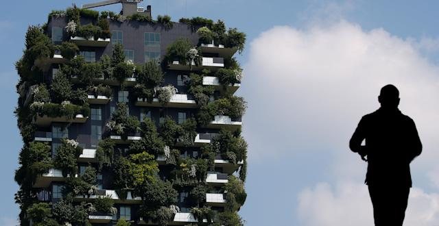 "The ""Bosco Verticale"" (Vertical Forest) residential tower in the Porta Nuova district is seen in Milan, Italy, May 18, 2018. REUTERS/Stefano Rellandini"