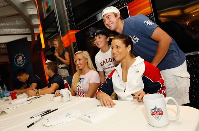NEW YORK, NY - JULY 27: Nastia Liukin and Alicia Sacramone attends an autograph signing on July 27, 2011 at the NBC Experience Store in New York City (Photo by Mike Stobe/Getty Images)