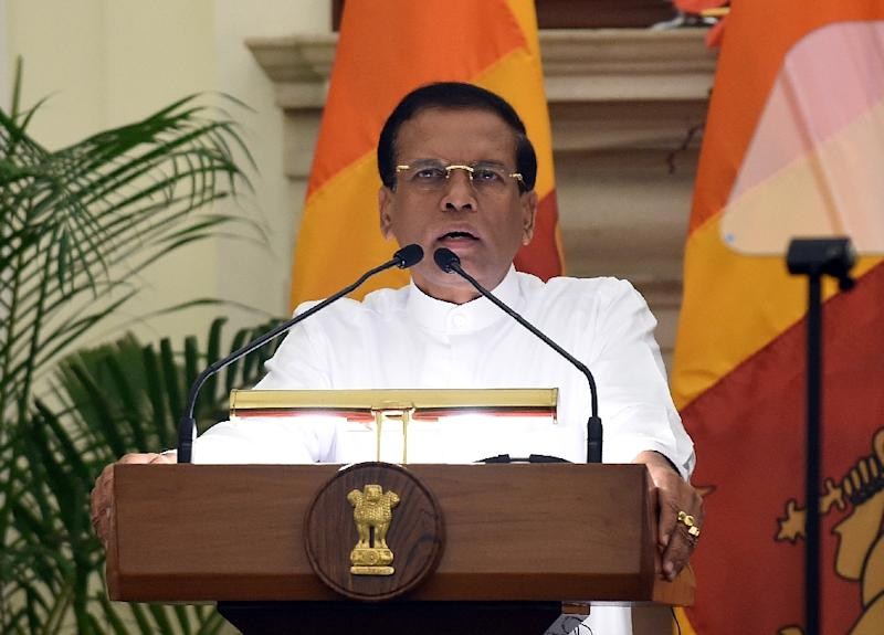Sri Lankan President Maithripala Sirisena, pictured here in New Delhi on February 16, 2015, plans to dissolve parliament and call a general election (AFP Photo/Prakash Singh)