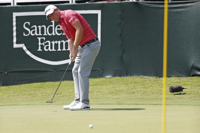 Tom Hoge watches his birdie putt on the 18th green in the opening round of the Sanderson Farms Championship golf tournament in Jackson, Miss., Thursday, Sept. 19, 2019. (AP Photo/Rogelio V. Solis)