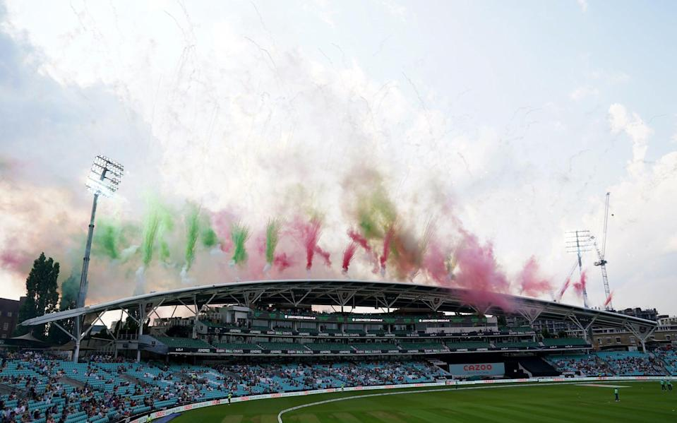 Fireworks above the stands before The Hundred match at The Kia Oval - PA