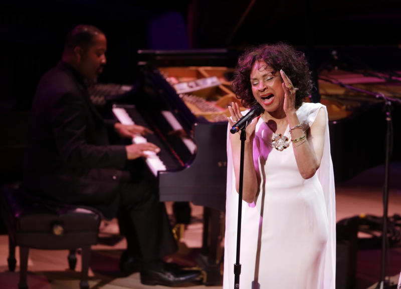 """Mary Stallings sings """"I Love Being Here With You,"""" during the opening night concert of the SFJAZZ Center Wednesday, Jan. 23, 2013 in San Francisco. The 700-seat, specially designed concert hall nestled in the heart of the city's arts district attracted a crowd of hundreds with a high-energy, inaugural celebration emceed by Bill Cosby. Billed as the first freestanding building in the West built for jazz performance and education, the center opened Wednesday after raising more than $60 million over more than a decade to build a home for SFJAZZ, the nonprofit that puts on the city's jazz festival. (AP Photo/Eric Risberg)"""