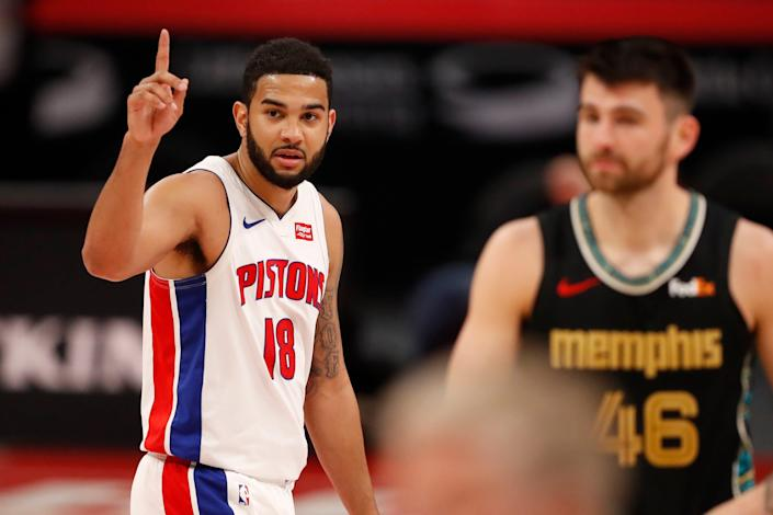Detroit Pistons guard Cory Joseph holds up a finger after the win against the Memphis Grizzlies at Little Caesars Arena, May 6, 2021.