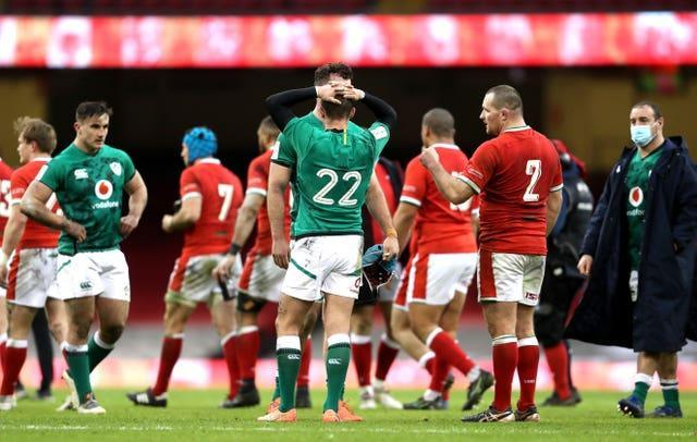 Ireland were beaten by Wales on Sunday after playing with 14 men for 66 minutes