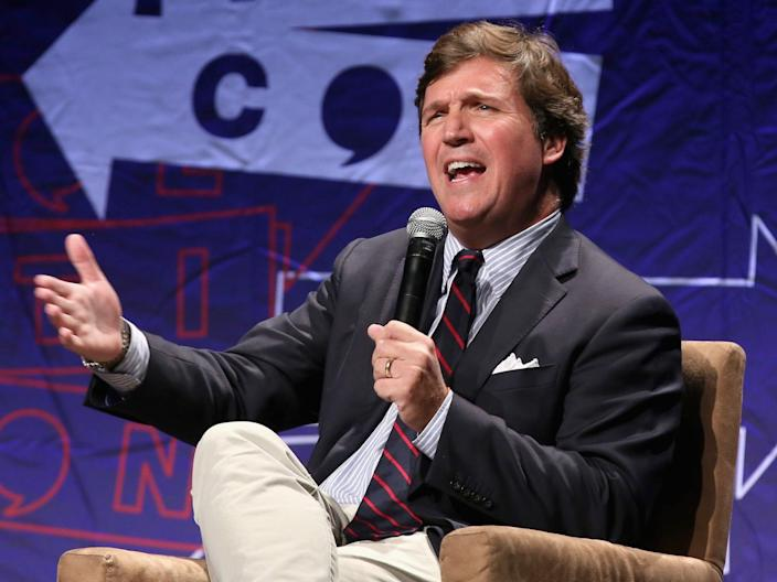 Tucker Carlson speaks onstage during Politicon 2018 at Los Angeles Convention Center on October 21, 2018, in Los Angeles, California.