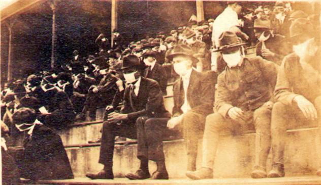 Fans showed up to games with masks on during the 1918 influenza pandemic. (Photo by Thomas Carter/Provided by Andy McNeil)