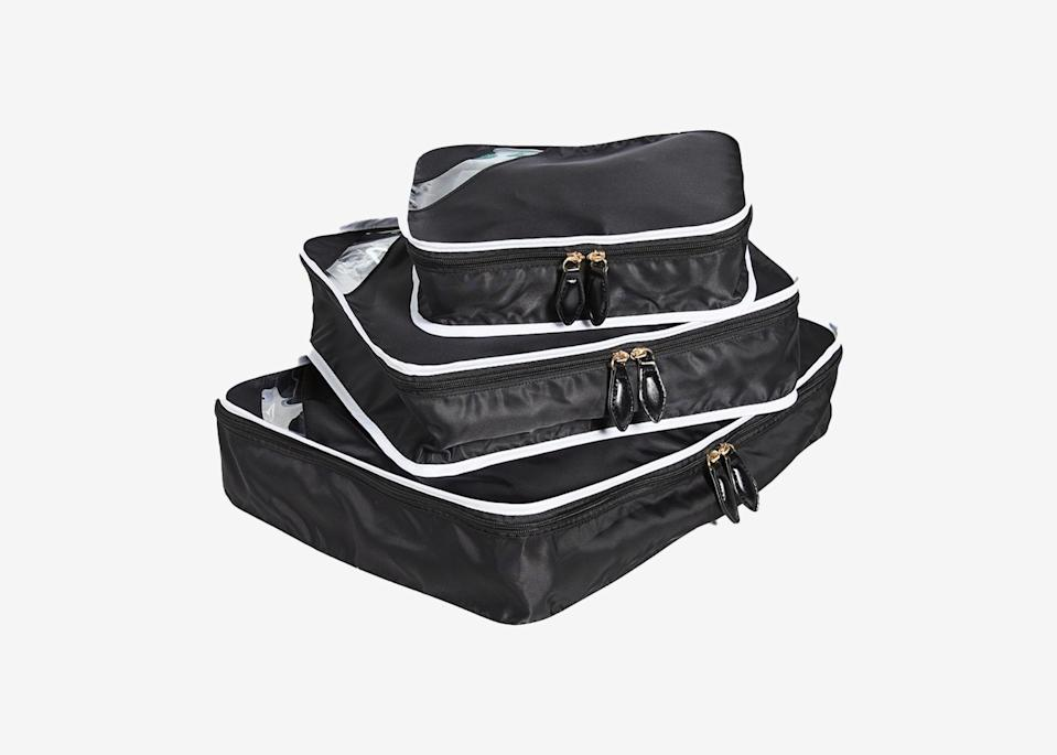 """<p>Packing cubes are just as helpful in keeping your backseat or trunk organized as they are your suitcase. Get a few different sizes, like this Paravel trio, and assign each one a different purpose to store cleaning supplies, Band-Aids and other first aid items, tech accessories, bug spray and sunscreen, or anything else you don't want rolling around. </p> <p><strong>Buy now:</strong> <a href=""""https://fave.co/2UPbKsq"""" rel=""""nofollow noopener"""" target=""""_blank"""" data-ylk=""""slk:$55, shopbop.com"""" class=""""link rapid-noclick-resp"""">$55, shopbop.com</a></p>"""