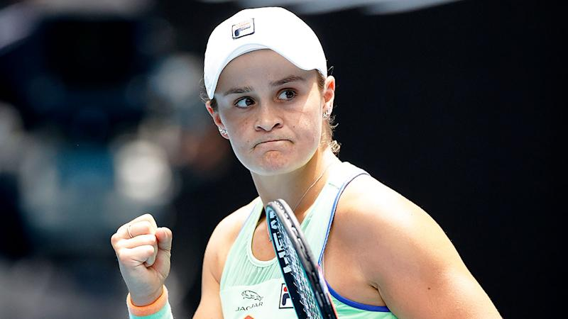 Pictured here, Ash Barty in action at the 2020 Australian Open.