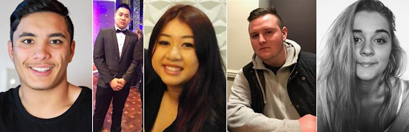 (L-R) Joshua Tam, Hoang Nathan Tran, Diana Nguyen, Callum Brosnan, Alex Ross-King, who all died at a Sydney music festival. Source: AAP