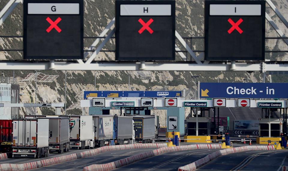 Lorries arrive at the Port of Dover in Kent one week on from the introduction of post-Brexit regulations (Photo: Gareth Fuller - PA Images via Getty Images)
