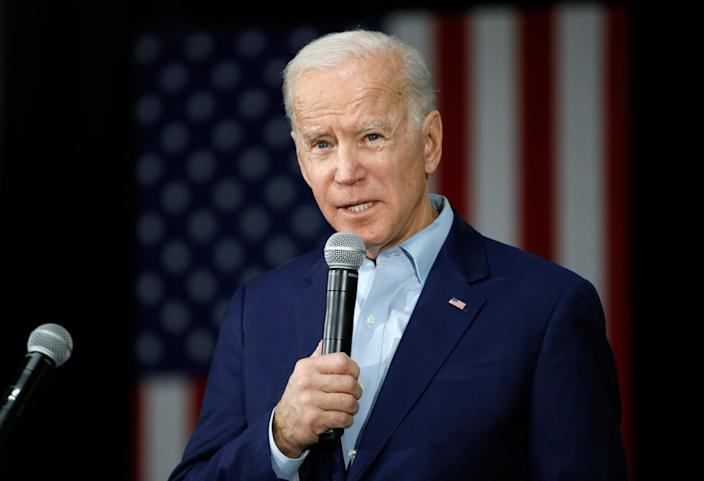 Former Vice President Joe Biden campaigns for president in Mason City, Iowa, on Jan. 22, 2020.