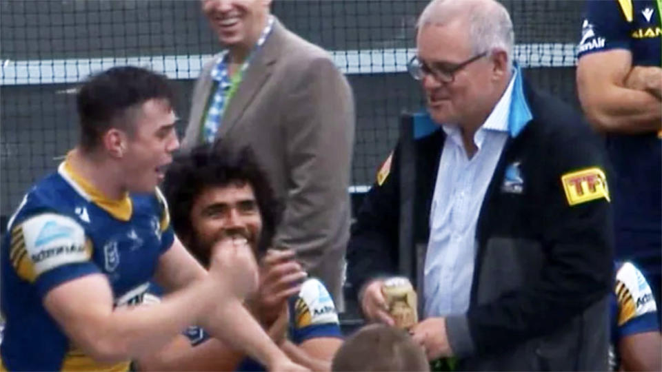 Scott Morrison, pictured here in the Parramatta Eels dressing rooms.
