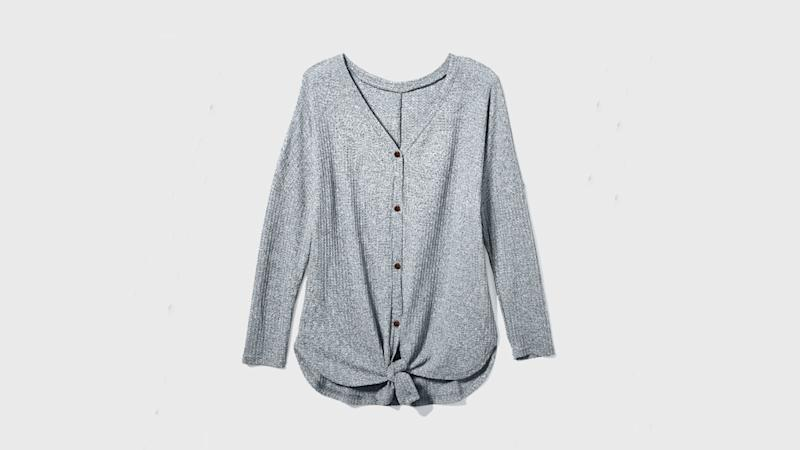 Amazon's most beloved cardigan is a textured piece with a tie accent. (Photo: Amazon)