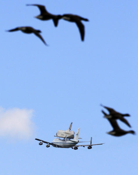Geese fly as the spaceshuttle Enterprise, riding on the back of the NASA 747 Shuttle Carrier Aircraft, flies past in Jersey City, N.J., Friday, April 27, 2012. (AP Photo/Mel Evans)