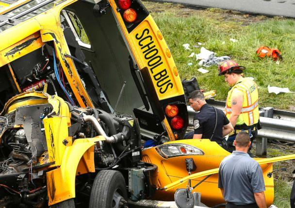 PHOTO: Multiple injuries have been reported after a serious crash between a school bus carrying middle school students and a dump truck on a New Jersey highway, according to police, May 17, 2018. (Magdeline Bassett/Asbury Park Press via USA TODAY NETWORK)