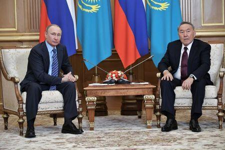 File photo: Russia's President Putin meets with Kazakh President Nazarbayev in Almaty