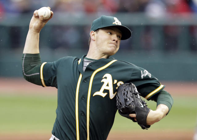 Oakland Athletics starting pitcher Sonny Gray delivers in the first inning of a baseball game against the Cleveland Indians, Friday, May 16, 2014, in Cleveland. (AP Photo/Tony Dejak)