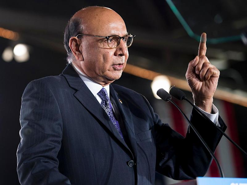 Khizr Khan spoke at a Clinton rally in New Hampshire a few days before the election (Getty)