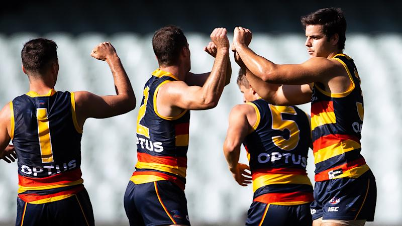 The Adelaide Crows, pictured here during a pre-season game in March.