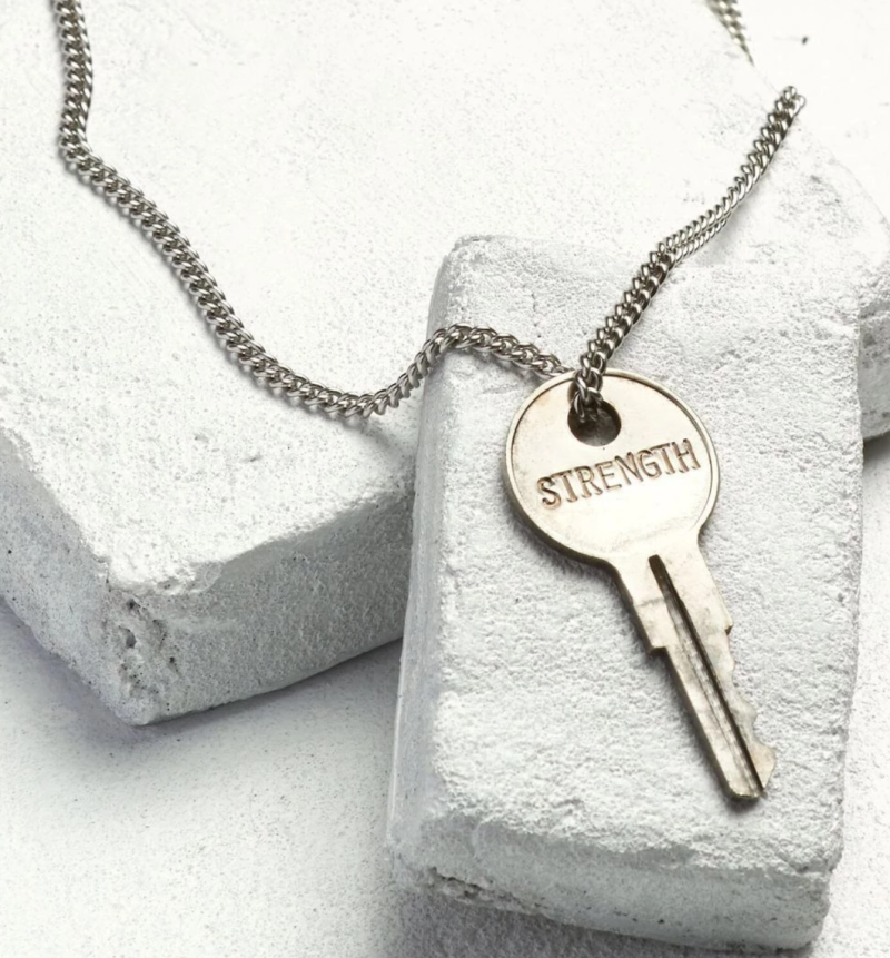 Silver Classic Key Necklace.