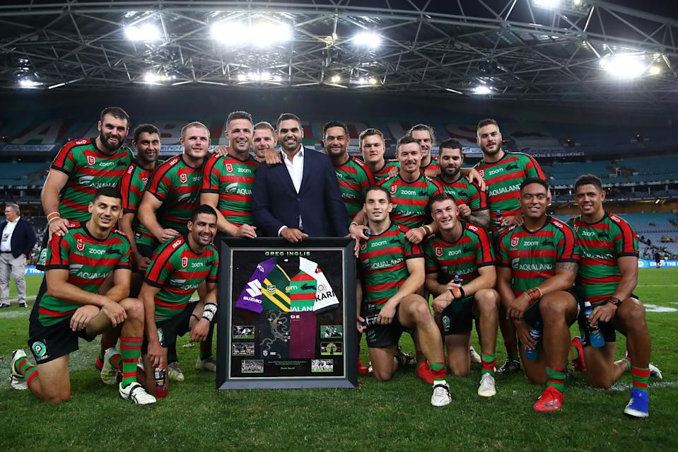 Greg Inglis with Rabbitoh team mates on May 2 in Sydney following a tribute after retiring
