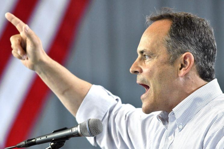 Bevin speaks at a picnic on Aug. 6, in Fancy Farm Ky. (Photo: Timothy D. Easley/AP)