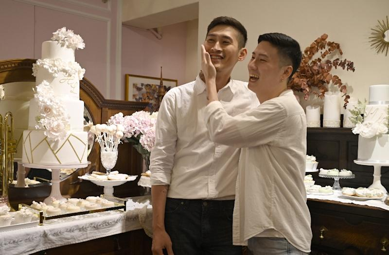A landmark ruling by Taiwan's top court in 2017 said denying same-sex couples -- like Shane Lin and Marc Yuan -- the right to wed violated the island's constitution (AFP Photo/SAM YEH)