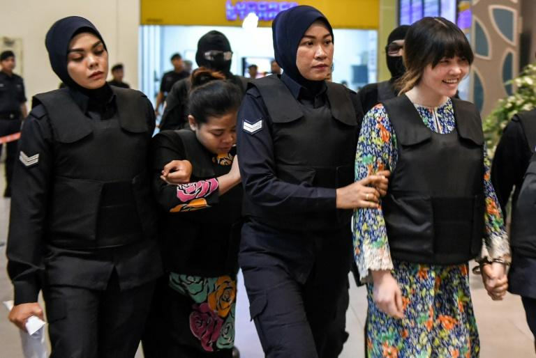 Vietnamese defendant Doan Thi Huong (R) and Indonesian defendant Siti Aishah (2nd, L) are accused of killing Kim Jong-Nam on February 13 with nerve agent VX at Kuala Lumpur International Airport in a hit that stunned the world