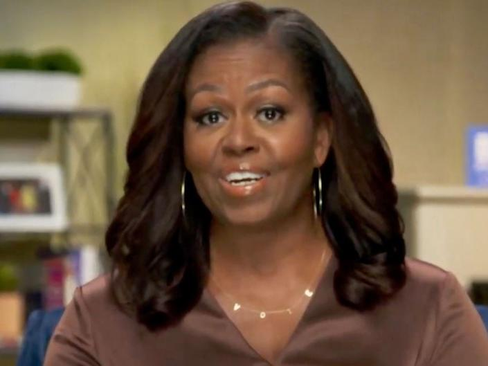 """Michelle Obama speaking at the Democratic National Convention live-streamed event on August 17. <p class=""""copyright"""">Handout/DNCC via Getty Images</p>"""