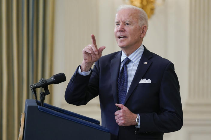 President Joe Biden takes questions from reporters as he speaks about the COVID-19 vaccination program, in the State Dining Room of the White House, Tuesday, May 4, 2021, in Washington. (AP Photo/Evan Vucci)