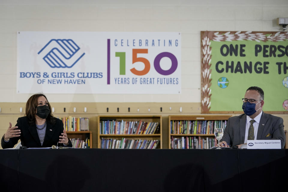 NEW HAVEN, CT - MARCH 26: (L-R)) U.S. Vice President Kamala Harris and Secretary of Education Miguel Cardona lead a roundtable session about reducing childhood poverty at the Boys and Girls Club of New Haven on March 26, 2021 in New Haven, Connecticut. Harris is traveling to New Haven, Connecticut to promote the Biden administration's recently passed $1.9 billion federal stimulus package. (Photo by Drew Angerer/Getty Images)