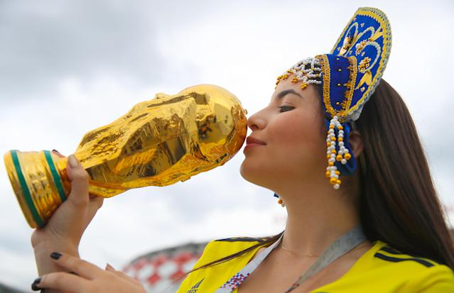 <p>A Colombia fan ahead of the FIFA World Cup 2018, round of 16 match at the Spartak Stadium, Moscow. (Photo by Adam Davy/PA Images via Getty Images) </p>