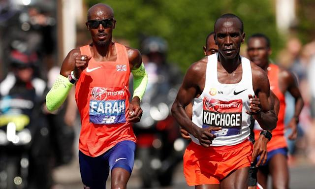 "<span class=""element-image__caption"">Mo Farah (left) could challenge this year's London Marathon winner, Eliud Kipchoge, in the future according to Farah's coach, Gary Lough.</span> <span class=""element-image__credit"">Photograph: Andrew Boyers/Reuters</span>"