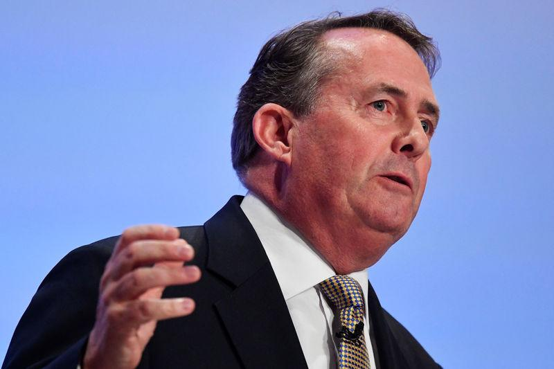 Britain's International Trade Secretary Liam Fox addresses the Conservative Party Conference in Birmingham