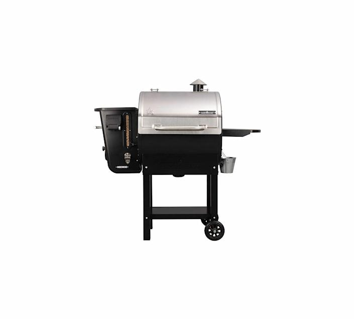 """<p><strong>Camp Chef</strong></p><p>amazon.com</p><p><strong>$999.99</strong></p><p><a href=""""https://www.amazon.com/dp/B081P7SJ3V?tag=syn-yahoo-20&ascsubtag=%5Bartid%7C10060.g.36984727%5Bsrc%7Cyahoo-us"""" rel=""""nofollow noopener"""" target=""""_blank"""" data-ylk=""""slk:Shop Now"""" class=""""link rapid-noclick-resp"""">Shop Now</a></p><p>The Woodwind Wi-Fi 24 is an attractive, versatile grill that fits better in tight spaces due to its vertical legs and small footprint. We tested it with a nice propane-fueled griddle attaches to the side (called the Sidekick), which runs independently of the pellet grill controller. Heat distribution was even, equaled only by the Traeger. And the sear zone was perhaps the easiest to use, with a slide that pulls out to expose the center of the cooking grate to the direct heat of the flame. The color LCD control screen allows you to set the temperature and the amount of smoke produced. (You can also do that on the grill's app.) We appreciated all the features and the addition of the Sidekick, but they add to the cost—the Woodwind Wi-Fi 24 runs $800 without the griddle.</p>"""
