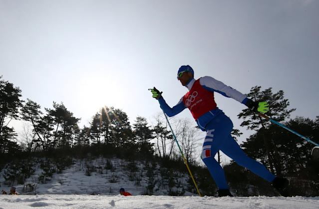 Cross-Country Skiing - Pyeongchang 2018 Winter Olympics - Men's 50km Mass Start Classic Training - Alpensia Cross-Country Skiing Centre - Pyeongchang, South Korea - February 23, 2018 - An athlete from team Italy trains. REUTERS/Carlos Barria